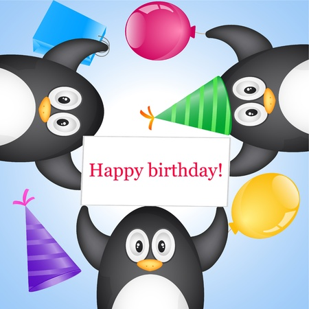 penguin with greeting Vector