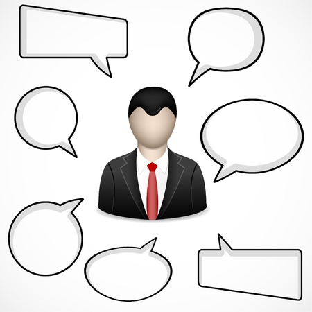 thinking bubble: businessman and speech bubbles