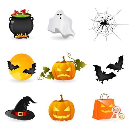 brujas caricatura: conjunto de iconos de Halloween