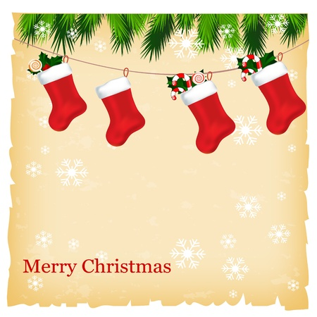 christmas stocking: christmas card with place for your text Illustration