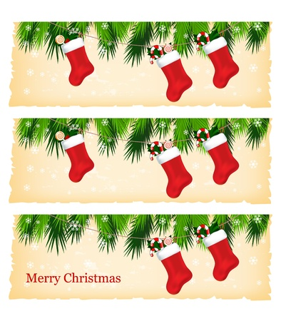 stockings: christmas colorful banners