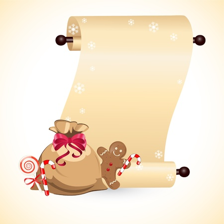 scrolled paper with gingerbread cookie Vector