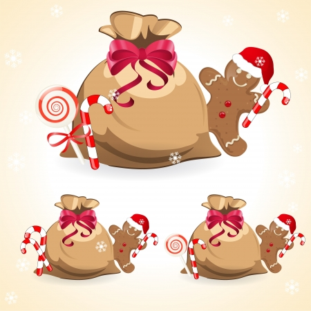 santa�s sack with gingerbread cookie Vector