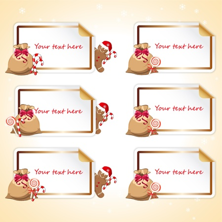 set of stickers with gingerbread cookie Vector