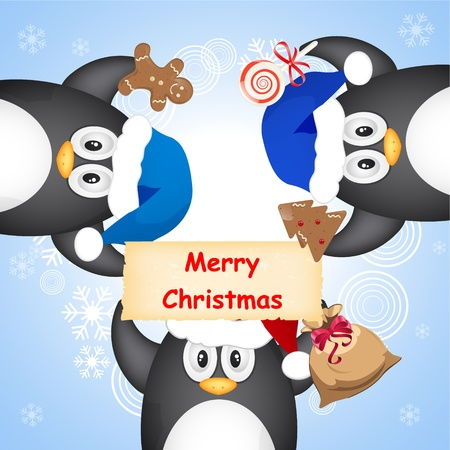 background antarctica: different christmas penguin