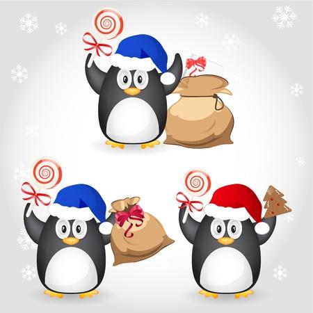 galletas de jengibre: diferentes de pingüinos de Navidad Vectores