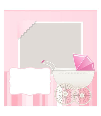 newborn baby girl: baby card with place for your text Illustration