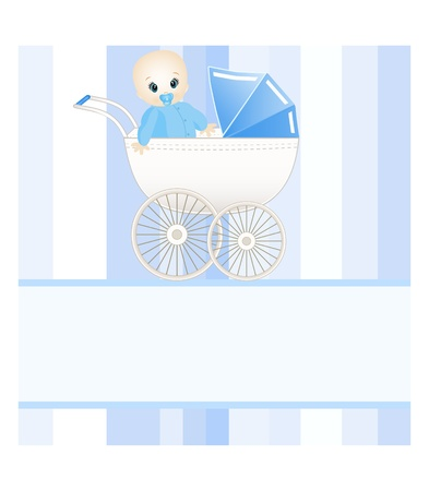 baby boy announcement: baby card with place for your text Illustration