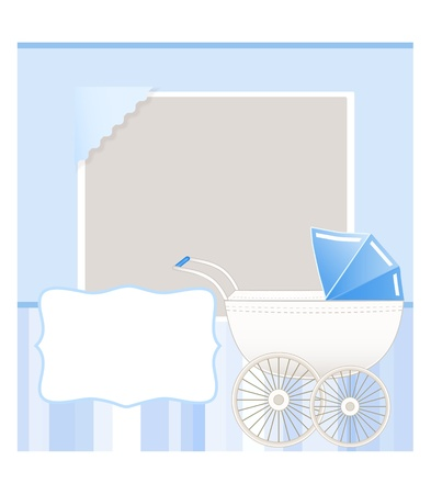 baby stroller: baby card with place for your text Illustration