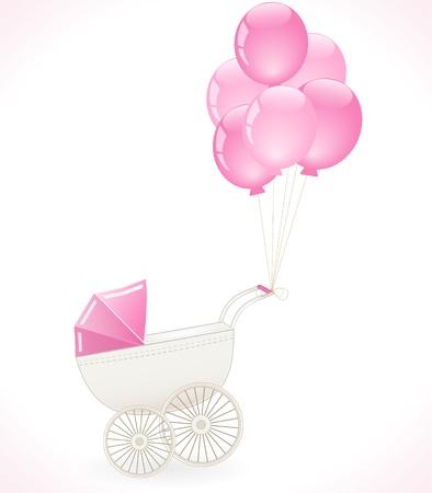 newborn baby girl: baby stroller with balloons
