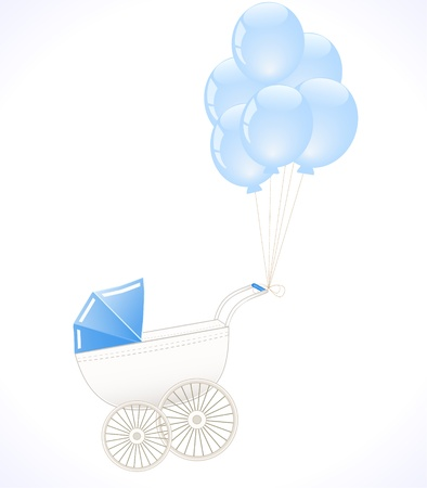 baby stroller with balloons Vector