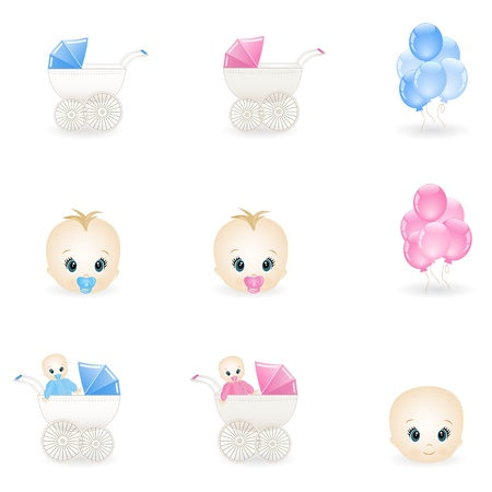 baby carriage: colorful baby icons Illustration