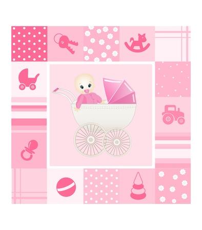 newborn baby girl: baby card