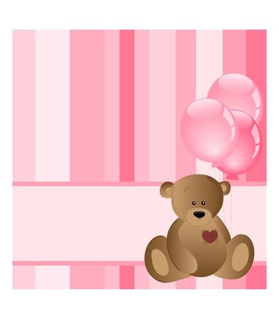 cute girl with teddy bear: baby card