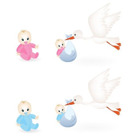 cigogne: icônes colorées pour bébés