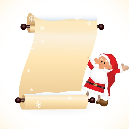 Scrolled paper with Santa Claus Vector