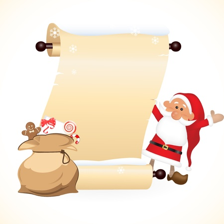 Scrolled paper with Santa Claus