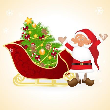 Santa Claus sleigh Vector
