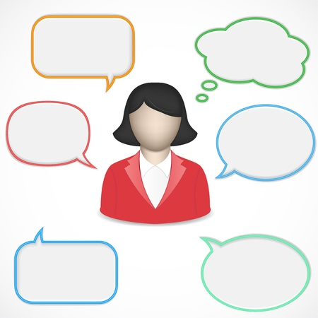 Business women and speech bubbles Vector