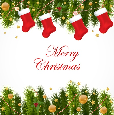 christmas sock: Biglietto di auguri di Natale Vettoriali