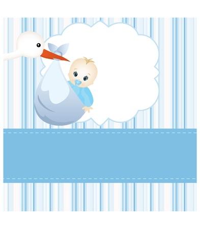 cigogne: Carte de bébé