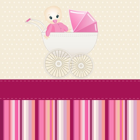 newborn baby girl: Baby card Illustration