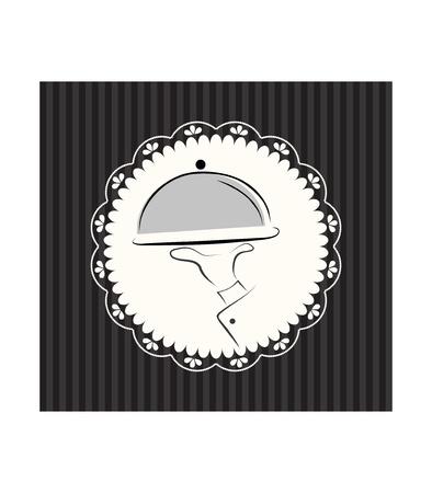 serveur avec plateau: Carte de menu Illustration