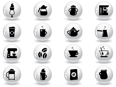 Web buttons, coffee icons Vector