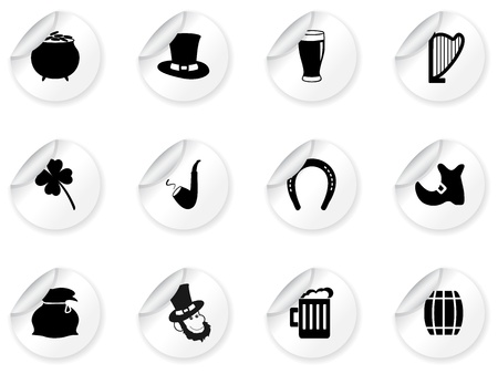 irish pride: Stickers with St Patrick