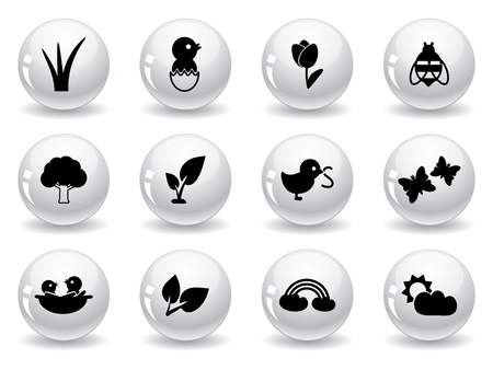 Web buttons, spring icons Vector