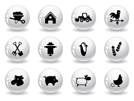 Web buttons, farming icons Stock Vector - 12485710