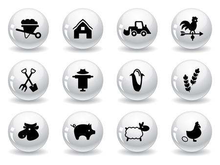 Web buttons, farming icons Vector