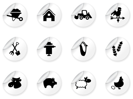 Stickers with farming icons Vector