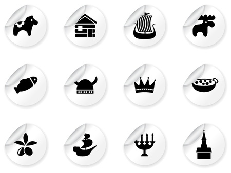 Stickers with swedish icons Stock Vector - 12485712