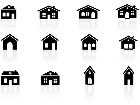 garage on house: House and buildings icons Illustration