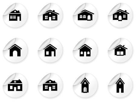 Stickers with house and buildings icons Stock Vector - 12792070