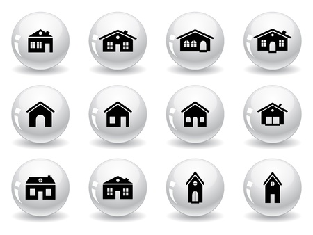 Web buttons, house and buildings icons Vector