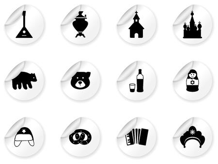 mu�ecas rusas: Pegatinas con los iconos rusos Vectores