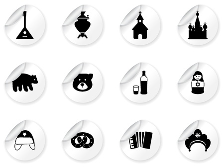 Stickers with russian icons Vector