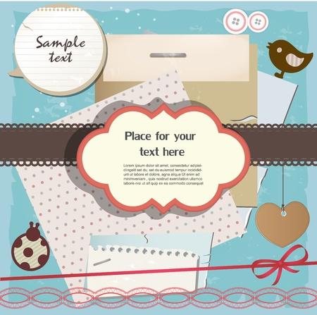 スクラップブッキング: スクラップ ブックの要素  イラスト・ベクター素材