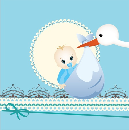 baby boy announcement: Baby card Illustration