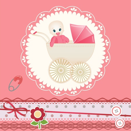 baby scrapbook: Baby card Illustration