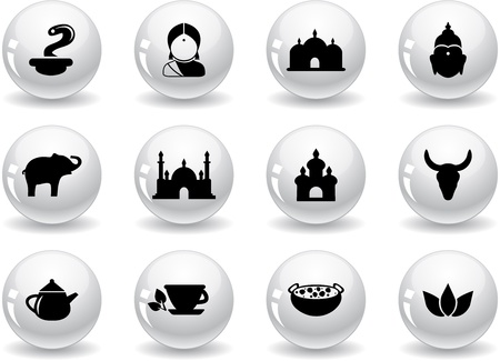 Web buttons, indian icons Stock Vector - 13306587