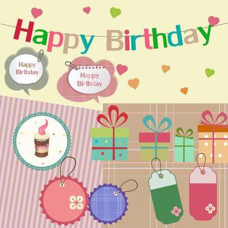 Birthday design elements for scrapbook Illustration