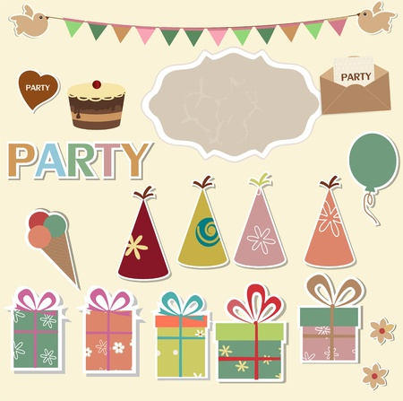 Color party design elements for scrapbook Vector