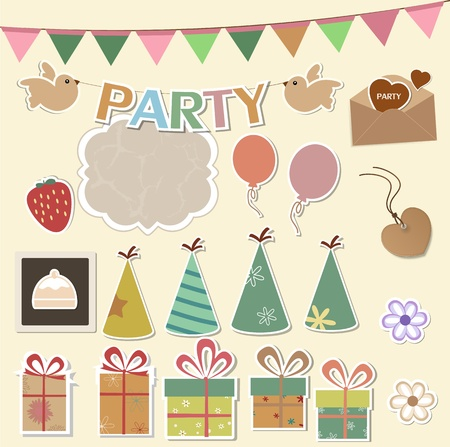 Color party design elements for scrapbook