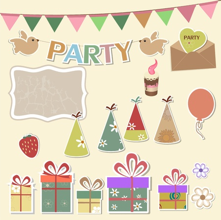 Color party design elements for scrapbook