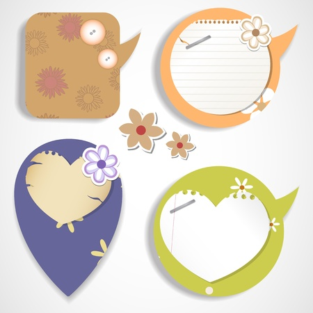 Speech bubbles   scrapbook elements Vector