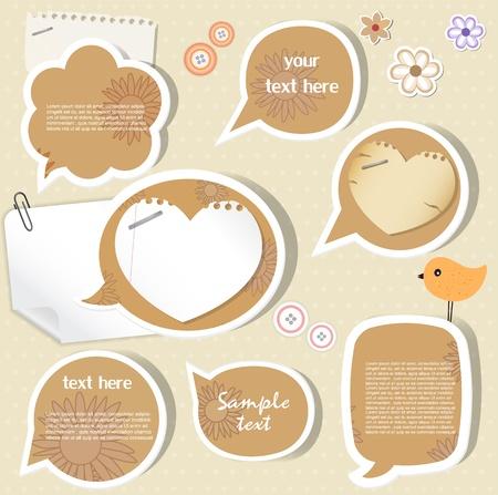 Speech bubbles   scrapbook elements Stock Vector - 13569210