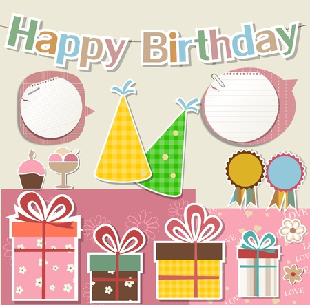 Birthday  design elements for scrapbook Illustration